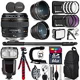 Canon EF 85mm F/1.8 USM Lens + Pro Flash + 0.43X Wide Angle Lens + 2.2X Telephoto Lens + LED Kit + Stabilizing Handle + UV-CPL-FLD Filters + Macro Filter Kit + 72 Monopod - International Version