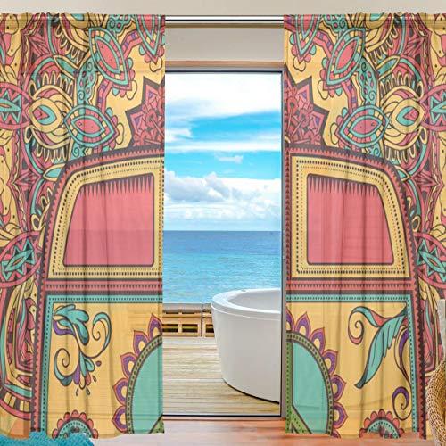 XiangHeFu Gardine Tüll Floral Peace Symbol Bus Voile Fenstervorhänge für Schlafzimmer, 55 (B) x 84 (L) Zoll, 2 Panels (96-zoll-gardinen)