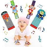 RXYYOS Baby Rattle Toy Neonato Sonagli Calzini Polso a Sonaglio per Bambini 4 Pz Simpatici Animaletti Developmental Toys Neon