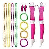 Contever 80er Damen Neon Beinstulpen Halsketten Fischnetz Handschuhe Ohrringe Armbänder Verkleiden Kostüme