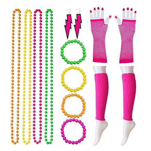 Guizen Beinwärmer Fischnetz Handschuhe Bead Halsketten Neon Halsketten Ohrringe Neon Armbänder Multicolor 80er Party Kostüm Zubehör Set 14 Stücke