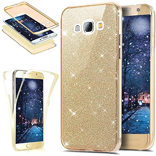 Uposao Galaxy J5 Coque en Silicone Rose Luxe 360 Degré Coque Avant et arrière Full Body Transparent Ultra-Mince Souple TPU Gel Brillant Sparkle Cristal Clair Coque Double Faces Etui Galaxy J5,Doré
