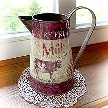 Antikas - lechera vintage con vaca - jarro de leche - lechera decorativa estilo antiguo -