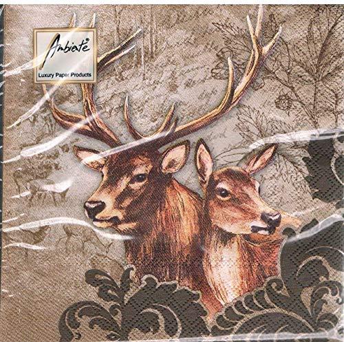 Ambiente-serviettes-deer couple automne/chevreuil marron/motif cerf/forêt