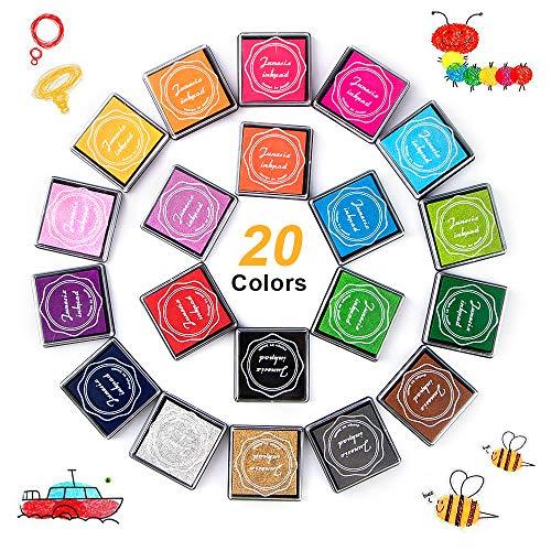 phixilin Stempelkissen Set, Fingerabdruck Ungiftig Abwaschbar Stamp Pad Tinte Bunt Stempelkissen für Leinwand Hochzeit, Papier Handwerk Stoff, Scrapbook, Geburtstag (20 Pack) -