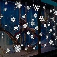 Tuopuda® Navidad Pegatinas de pared Calcomanías de Ventana de Copo de Nieve Pegatinas de PVC para Ventanas Vidrios Navidad Decoración Decoración de la Pared (56 pcs copo de nieve)