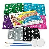 Abwechslungsreiches 116-teiliges Set Schminkschablonen für Kinder und Erwachsene von Tritart I 112 selbstklebende Tattoo Schablonen für Kinder und Eltern, 2 Schwämme, 2 Pinsel