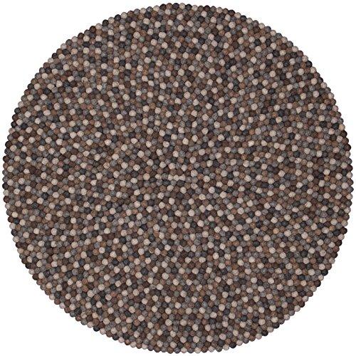 myfelt Néla Filzkugelteppich, rund, Schurwolle, grau/beige/braun, Ø 120 cm