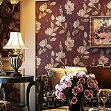 BBSLT Vintage American Country plain dormitorio salón TV de pared de fondo papel tapiz papel tapiz pintado a mano flores grandes de color rojo