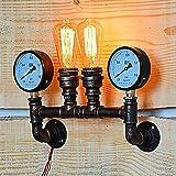 NIAI Lámpara de pared de tubería de agua rústica, accesorio con manómetro, aplique industrial