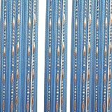 Godagoda Perlen Fadenvorhang Kette Wandvorhang Balkonvorhang Türvorhang Fliegenschutz Fadengardine Raumteiler mit Kristallquaste 100x200cm Himmelblau