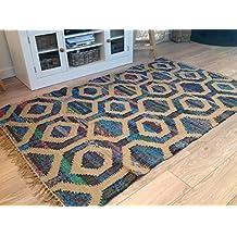 Yute Natural morado algodón 120cm x 180cm, panal geométrico Kilim alfombra (Second Nature)