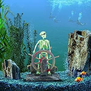 ECMQS, scheletro Action da acquario, con pirata, capitano, ornamento per acquario, decorazione