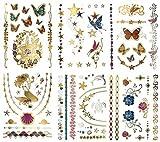 Metallic Mermaid Butterfly Temporäre Tattoos - Über 75 Designs, Bunte Gold-Silber-Feen-Blumen (6 Blätter) Terra Tattoos Bella Collection