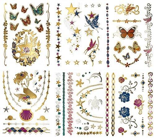 Terra tattoos, tatuaggi metallizzati temporanei, a forma di farfalle, sirenette, fatine e fiori,oltre 75motivi, colori vivaci con oro e argento, 6fogli dalla collezione