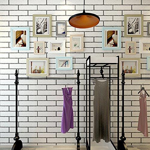 JSLCR Retro 3D Backstein Muster weiße Tapete, einfache modische Damenbekleidung Shop Tapeten dekorieren