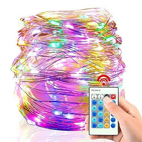 YMing 10M 100 LED Lichterkette Wasserdicht Kupfer Draht USB mit Fernbedienung 3 Modi 11 Stufen für Haus Halloween Weihnachten Party Hochzeit Garten Weihnachtsbaum Innen- und Außen Beleuchtung (Niederspannung)