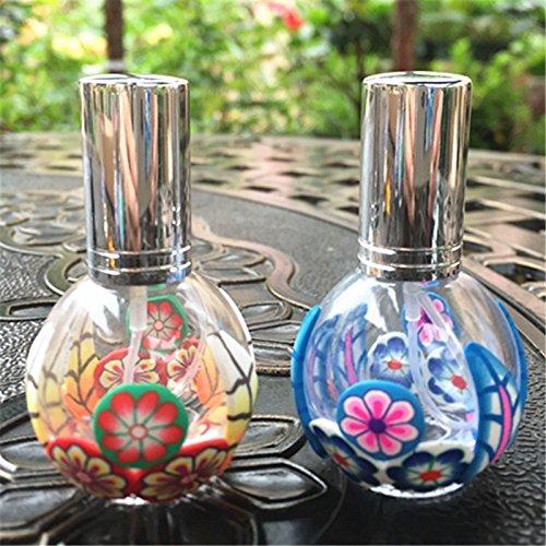 PanpA 1 UNID Flores Star Square Travel Bottle Belleza Vidrio Transparente Vaporizador de Perfume Vacía Botella de Dispensación Botella de Tamaño de Viaje Aéreo (13 ML Color Al Azar)