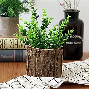 fioriera in legno con corteccia salice naturale piccolo cactus fioriera succulenta in legno decorativo vaso da fiori rustico - piccolo