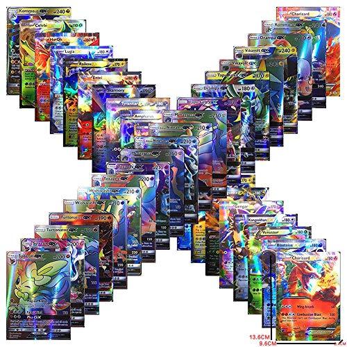Anivia Jeux De Cartes 100 Pcs Pokemon Cartes Style TCG Holo EX Full Art 59 Cartes EX 20 Cartes Mega EX 20 Cartes GX 1 Énergie Carte Puzzle Jeu De Cartes Amusa
