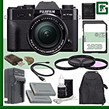 Fujifilm X-T10 Mirrorless Digital Camera With 18-55mm Lens (Black) + 16GB Green's Camera Bundle 2