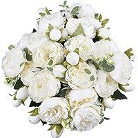 XONOR 4 mazzi di Fiori Artificiali di peonia di Seta Fiori Finti di Gloriosa per la Decorazione Domestica della Festa…