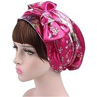 QHKS Cappello Bonnet for Hair Beauty Satin Bowknot Nightcap Traspirante Elastico Hat Nastro Turbante Dormire cap…
