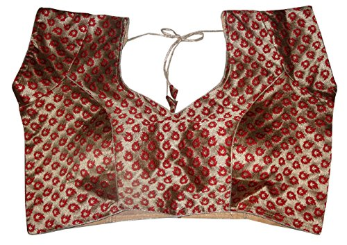 Bigfashionshop Women's Designer Blouse Brocade Silk Maroon Golden Stitched Padded Choli Medium  available at amazon for Rs.540