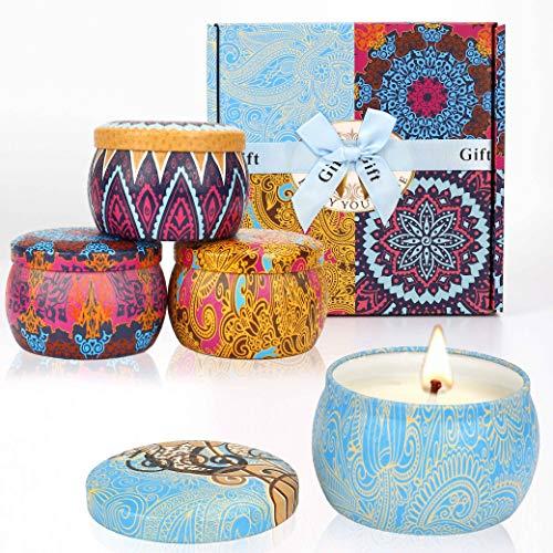 MaoXinTek Duftkerze Aroma Kerzen Naturwach in Dose Kerzen Geschenk Set Frühlingsgeschmack Zitrone Lavendel und Feigen Düfte für Aromatherapie Bad Yoga 4 * 4.4 Oz -