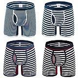 UMIPUBO Pack de 4 Bóxers Hombre Raya Larga Calzoncillos de Deporte Algodón Ropa Interior Trunks Underwear lástico Compresión Shorts