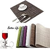 HAMENG Placemats [4PCS] Insulation Non-slip PVC Weave Placemats, Adiabatic Placemats Washable Table Mats?[Energy Class A+++]-BROWN