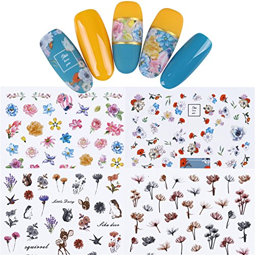 Born Pretty 12 Sheets Nail Art Water Sticker Flower Rose Butterfly Daisy Manicure Transfer Decal DIY Decoration Set