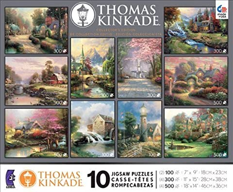 10 in 1, 100/300/500 Pieces Thomas Kinkade Puzzle by Ceaco (English Manual)