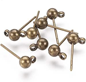Hole PandaHall 20 Sets Platinum Color Brass Post Earring Findings 4mm Pin 15x6mm 1mm Ball 0.8mm