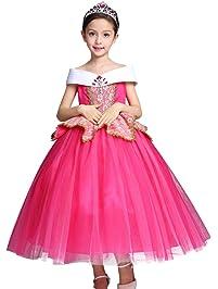 OBEEII Vestidos Niña Princesa Disfraz Cosplay Traje Largo para Holloween Fiesta de Navidad Boda Gala De