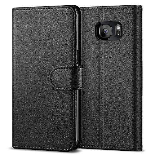 Vakoo Handyhülle für Samsung Galaxy S7 Edge Hülle, PU-Leder Wallet Case Schutzhülle für Samsung Galaxy S7 Edge - Schwarz