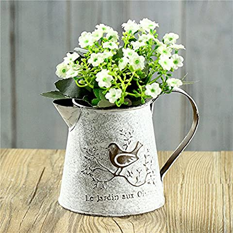 French Style White Shabby Chic Mini Metal Pitcher Flower Vase with Vintage Bird Decorative,Wrought iron Manual Plants Vase with