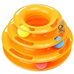 Foodie Puppies Interactive Tower of Tracks Plastic 3 Layers Pet Game Entertainment Turntable with Colourful Ball Toy for...