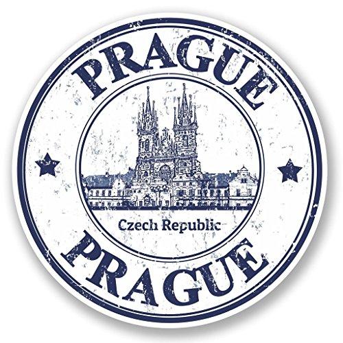 Preisvergleich Produktbild 2x Prag Tschechische Republik Vinyl Aufkleber Aufkleber Laptop Reise Gepäck Auto Ipad Schild Fun # 4796 - 10cm/100mm Wide