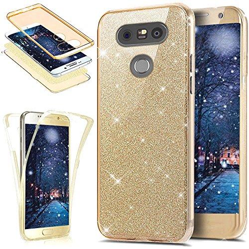 LG G5 Hülle,LG G5 Schutzhülle,Full-Body 360 Grad Bling Glänzend Glitzer Klar Durchsichtige TPU Silikon Hülle Handyhülle Tasche Case Front Back Double Beidseitiger Cover Schutzhülle für LG G5,Gold