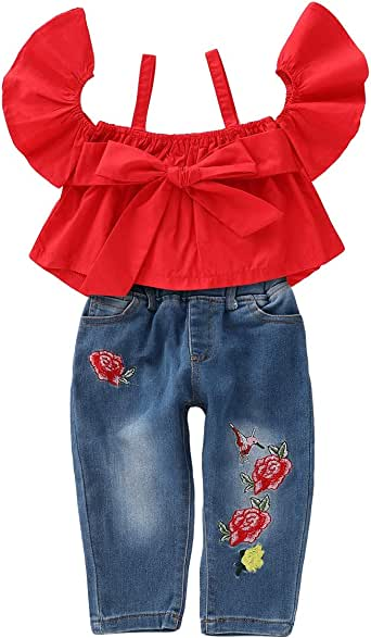 2 PezziSet Bambini Toddler Girl Outfit Suit off Spalla