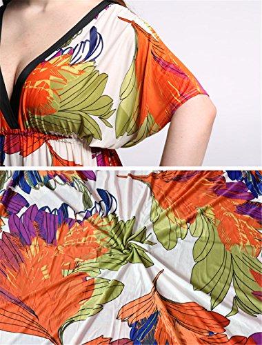 JOTHIN 2017 Nouvelle Femmes Robe V-Cou Taille Haute à Manches Chauve-souris Vent National Bohême Imprimé Taille Grands des Robe de Longue Section Orange