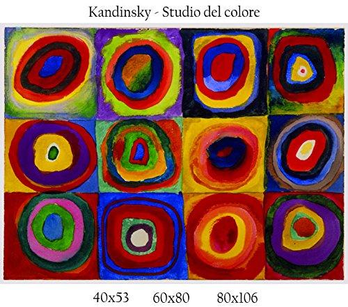 Stampa in Telo Canvas 100% QUALITà ITALIA - Kandinsky - Studio del colore effetto Dipinto Idea Regalo Casa quadro cucina stanza da letto soggiorno (60x80)