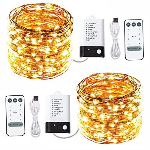 ACDE 2 Pack Guirnaldas Luminosas 10 Metros 100 LED Alimentado por USB/con pilas 2 Modos, Impermeable Alambre de Cobre Cadena Luces con Control Remoto Temporizador-Amarillo Cálido