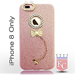 KC Pendant Diamond Crystal Gold Case Ultra Thin Cute Soft iPhone 8 Back cover for Girls - Rose Gold