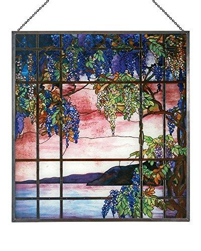 Louis Comfort Tiffany: View von Oyster Bay Glas Panel - Art-glas-panel