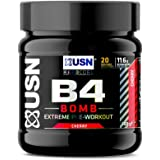 USN B4 Bomb Fruit Cherry 300 g: Pre workout Energy Drink with Creatine, Caffeine, Zynamite and L-Citrulline