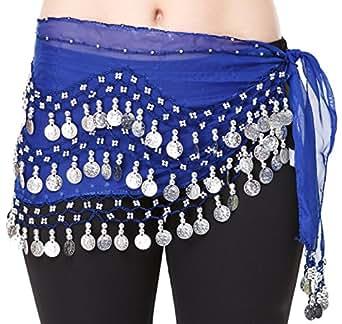 Costume Danse Orientale Sequins argent, bleu, Belly Dance Foulard Danse du Ventre Jupe