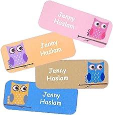 Namensaufkleber, selbstklebend, bunt, ideal für Kinder, Spuehlmachinen- und Mikrowellengeeignet (OWL)