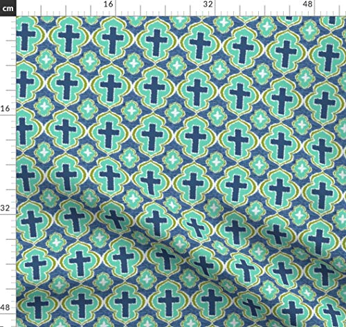 Kreuz, Christlich, Bibel, Kirche, Religiös Stoffe - Individuell Bedruckt von Spoonflower - Design von Rick Rack Scissors Studio Gedruckt auf Leinen Baumwoll Canvas